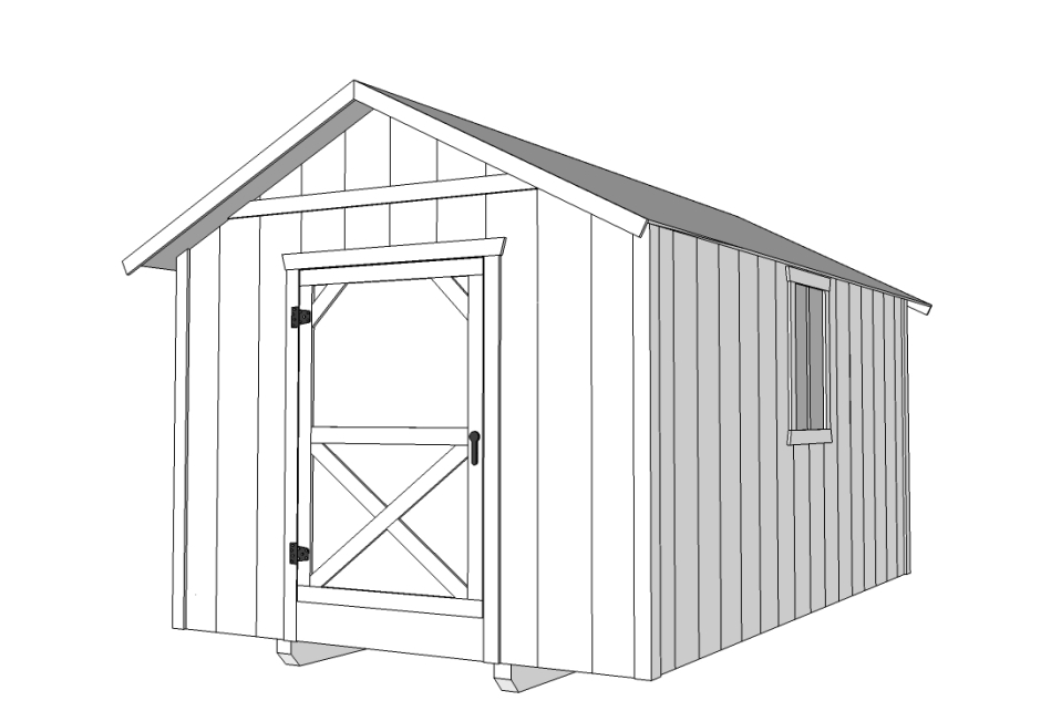 10x16 Enclosed Storage Shed - Cabin